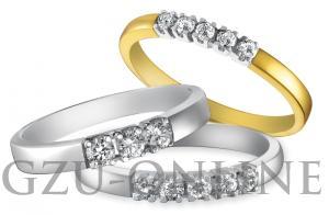 een 14 karaat  geel / witgoud ring Eclat